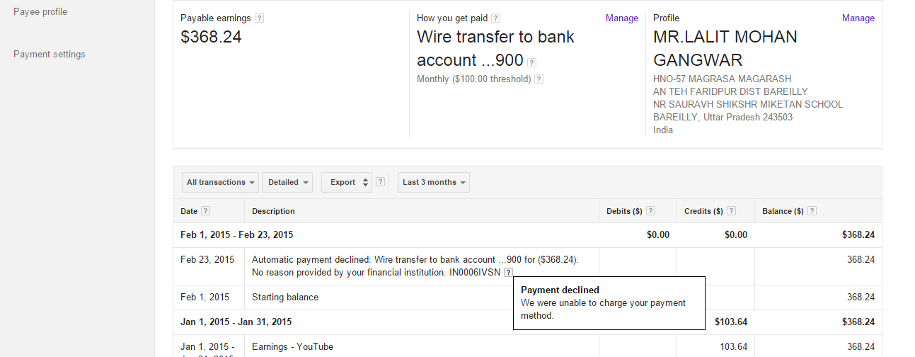 Automatic payment declined: Wire transfer to bank account No ... on