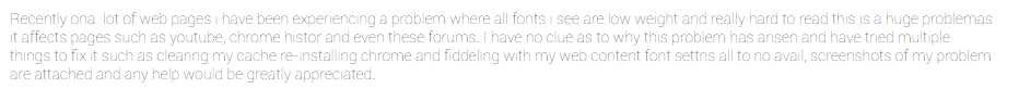 Faded, low weight font  - Google Chrome Help