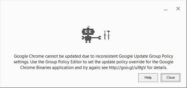 Updating Chrome Error 7 - Google Chrome Help