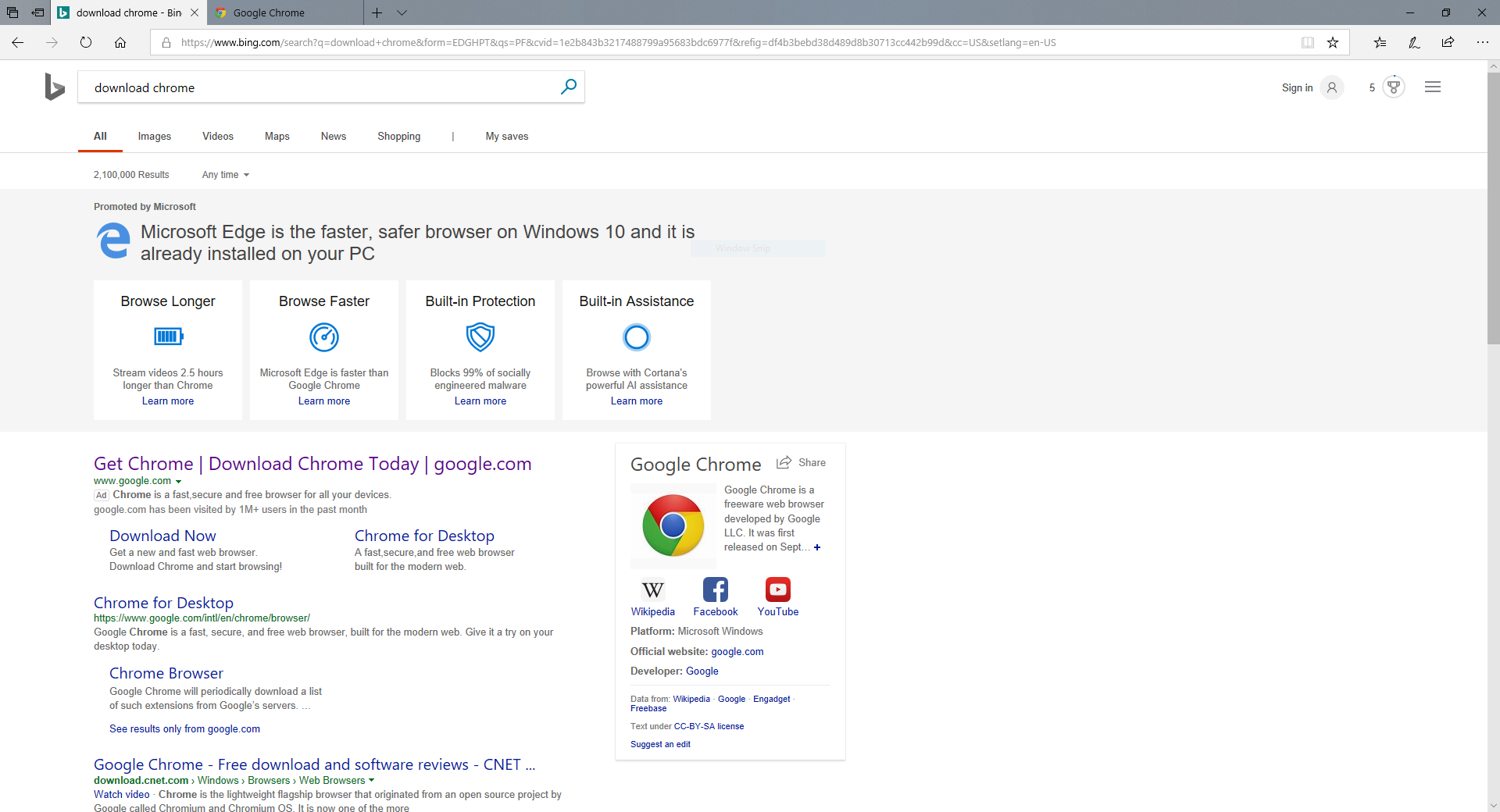 Microsoft Edge search linking to potentially bogus Chrome