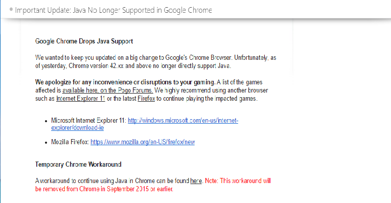 Why is Google Chrome no longer supporting Java? - Google
