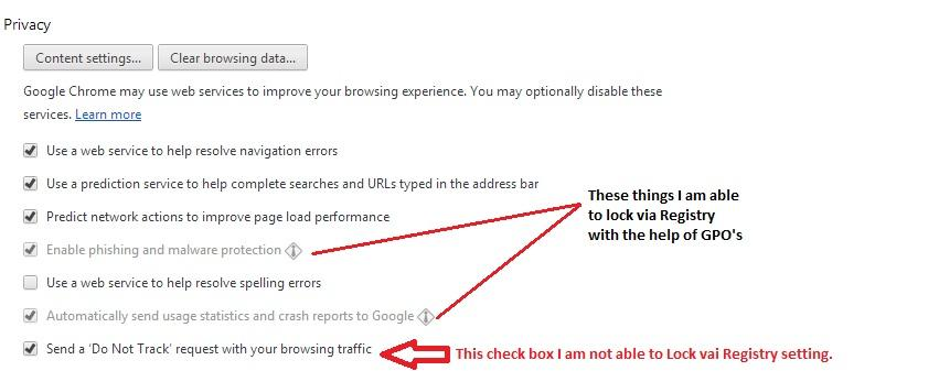 Locking preferences for Google Chrome Web browser settings