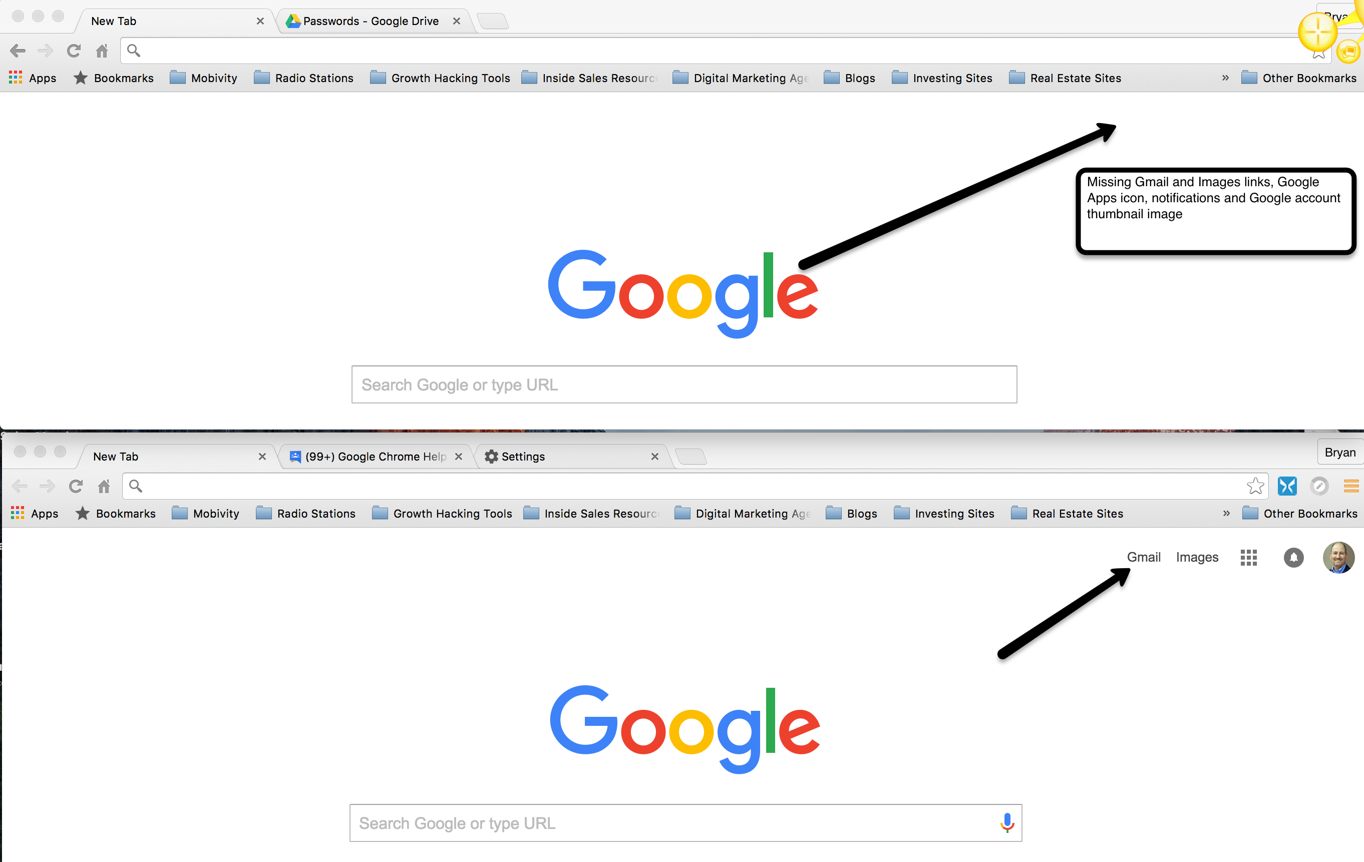 New tab page missing Gmail & Images links, Google Apps icon