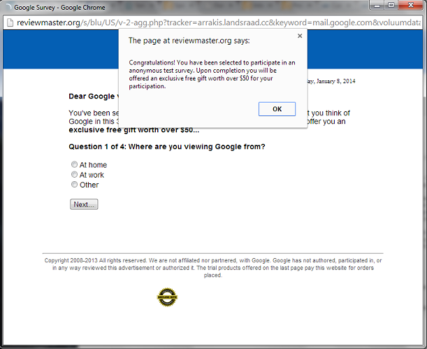 Survey pop-up in Gmail - Google Chrome Help