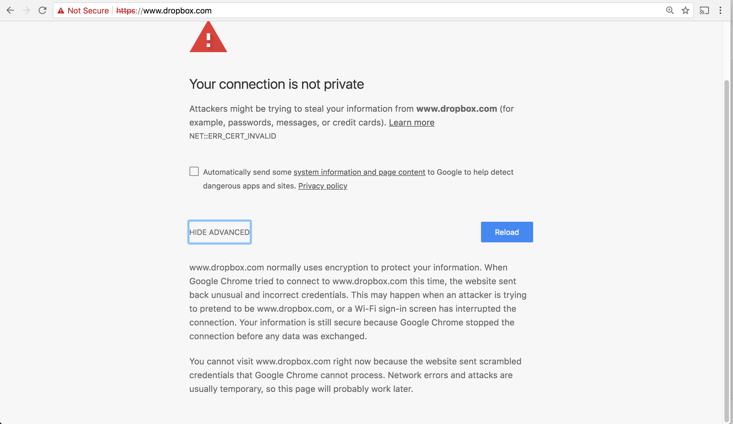 Chrome says certificate is invalid but it is valid - Google Chrome Help