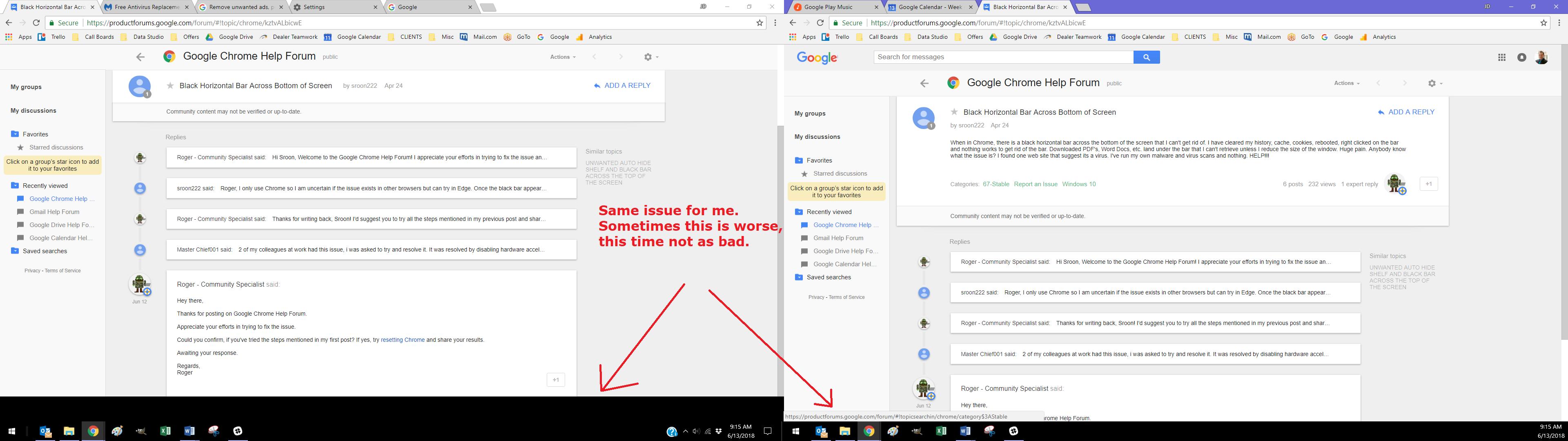Black Horizontal Bar Across Bottom of Screen - Google Chrome Help