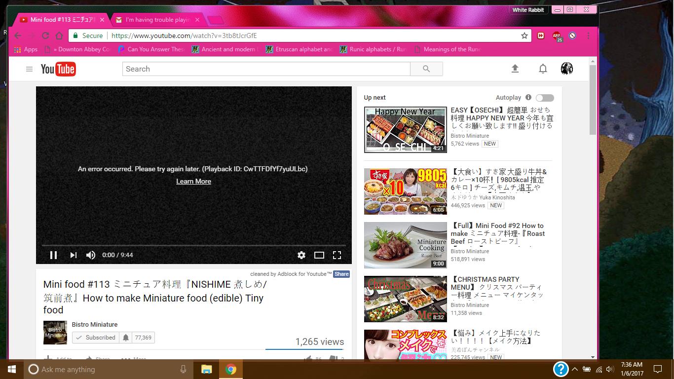 I'm having trouble playing youtube videos on google chrome