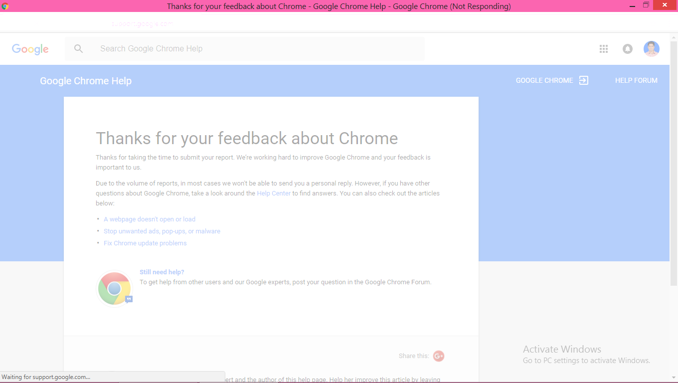 why google is showing as 'google chrome(not responding)' - Google