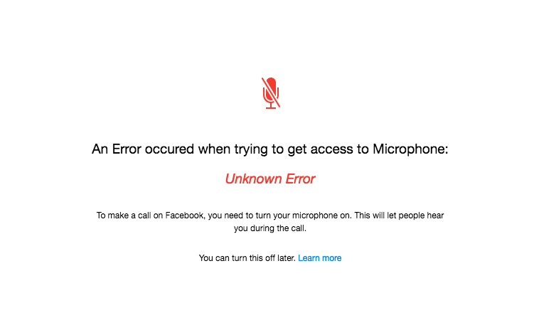My microphone is not working on facebook messenger, or any other