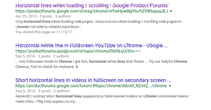 Horizontal lines/glitch when changing tabs/scrolling - Google Chrome