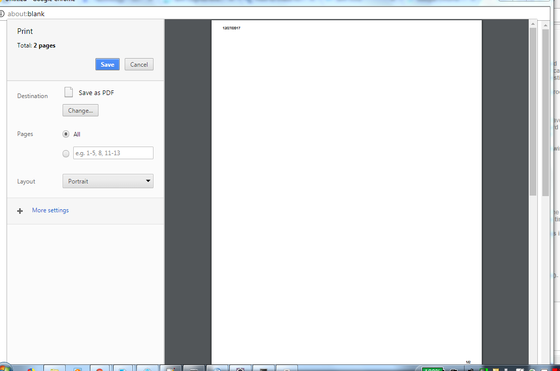 I'm unable to print page from chrome ,it is printing blank