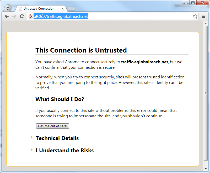Chrome showing new untrusted certificate notice - Google
