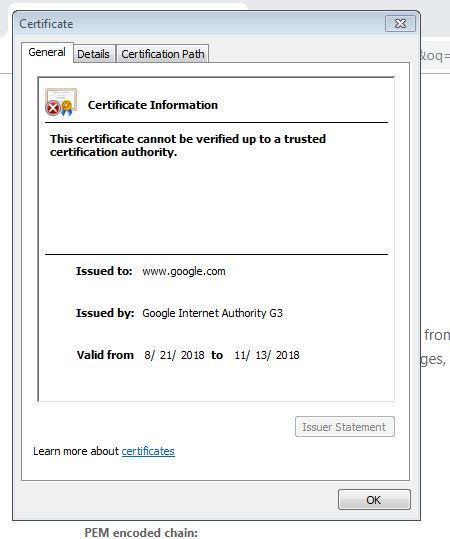 certificate invalid - Google Chrome Help