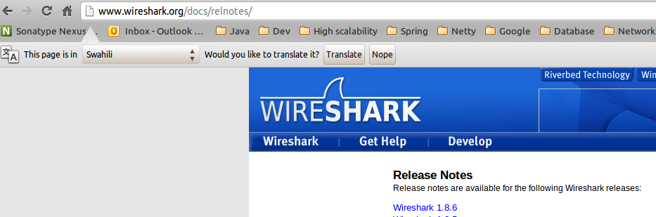http://www wireshark org/docs/relnotes/ interpreted as