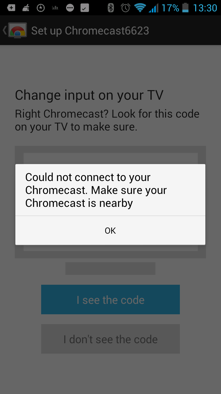 Chromecast shows up on TV and android phone but will not