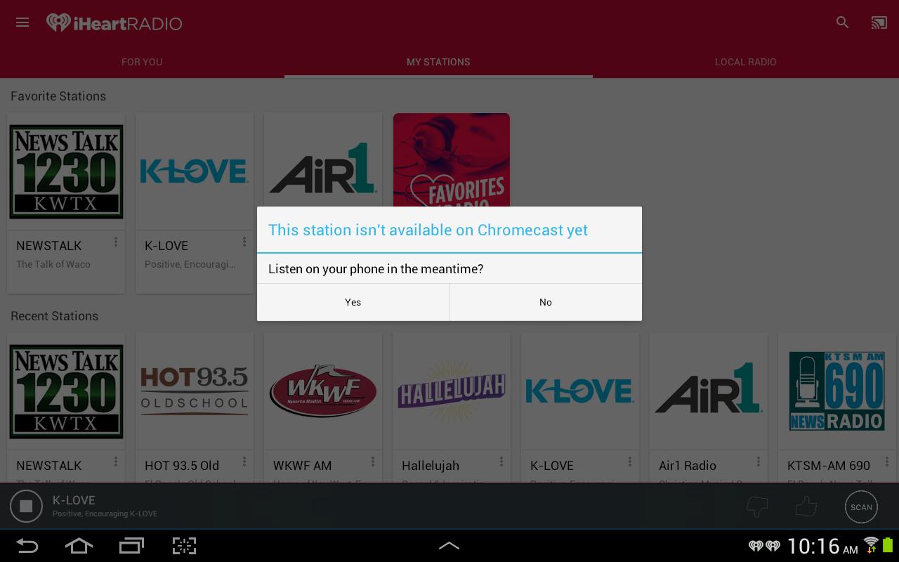 K-Love and Air1 won't cast - Chromecast Help