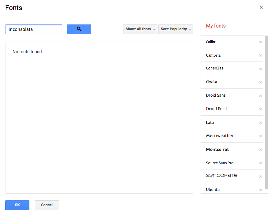 are google fonts inconsolata and fira not accessible in docs