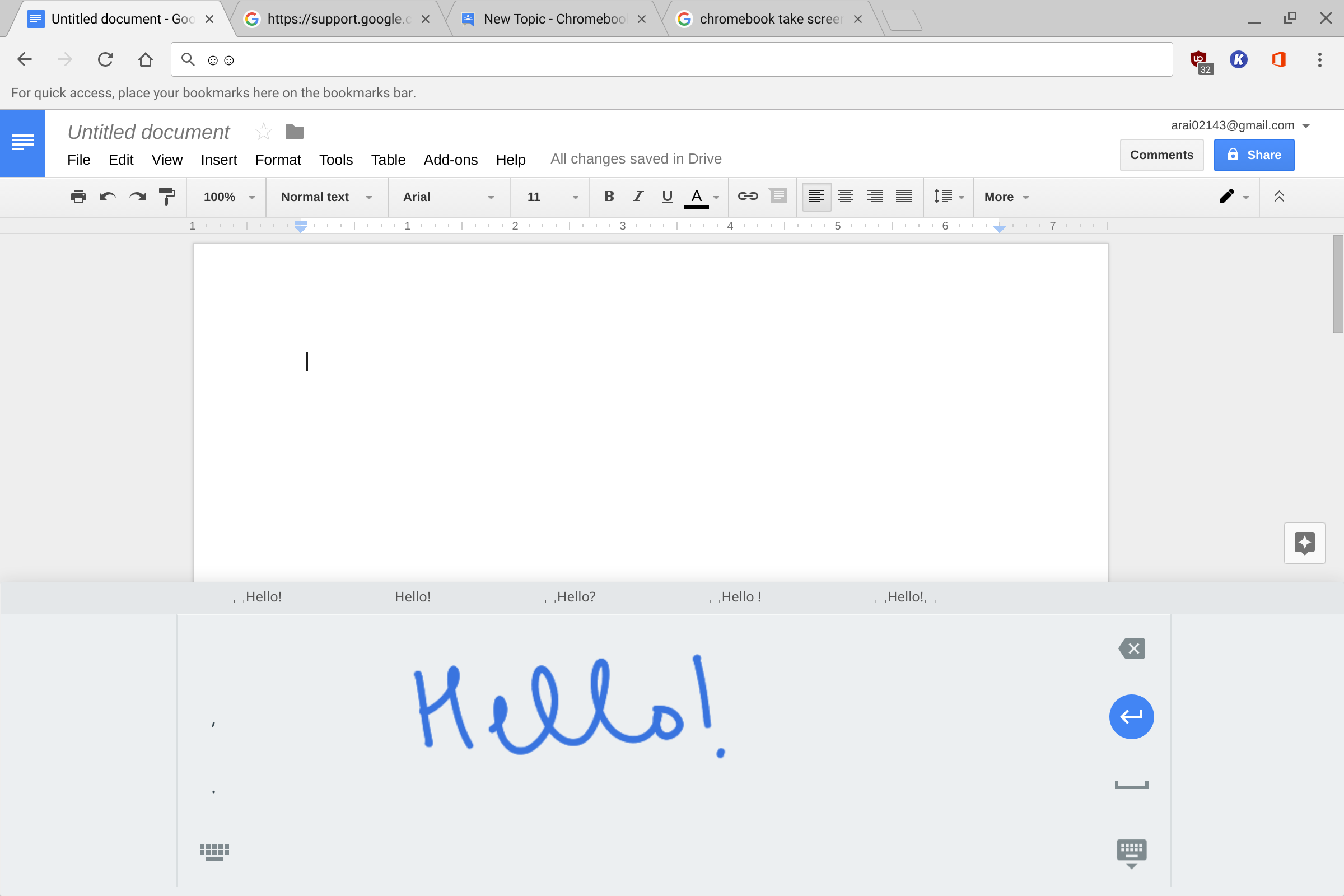 Handwriting recognition from default keyboard not working in