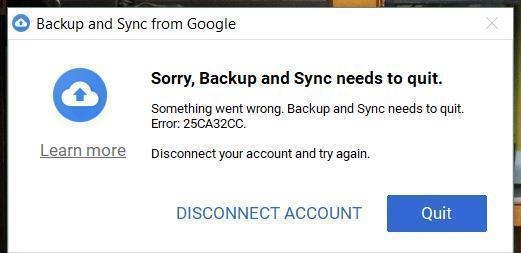 Backup and sync tool  Error: 25CA32CC - Google Drive Help