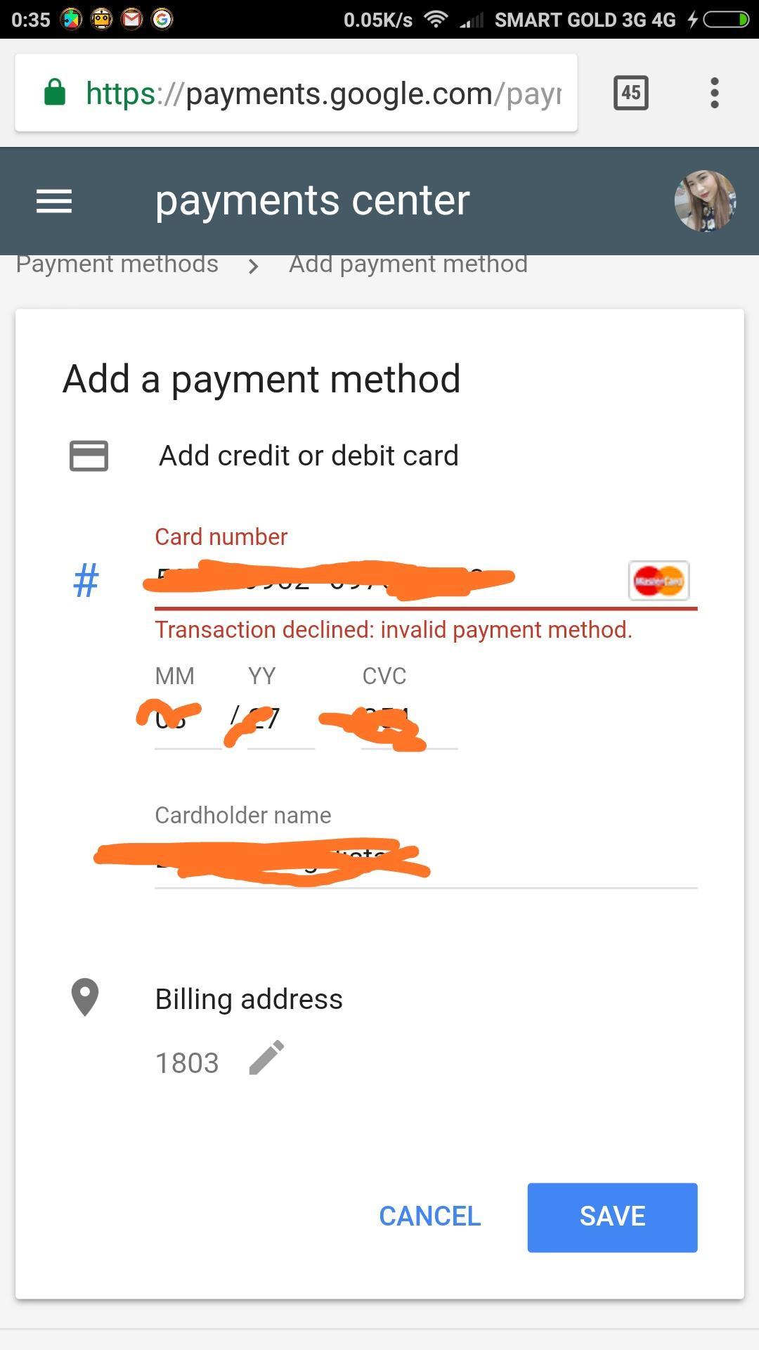 Need Help adding my payment method - Google Play Help