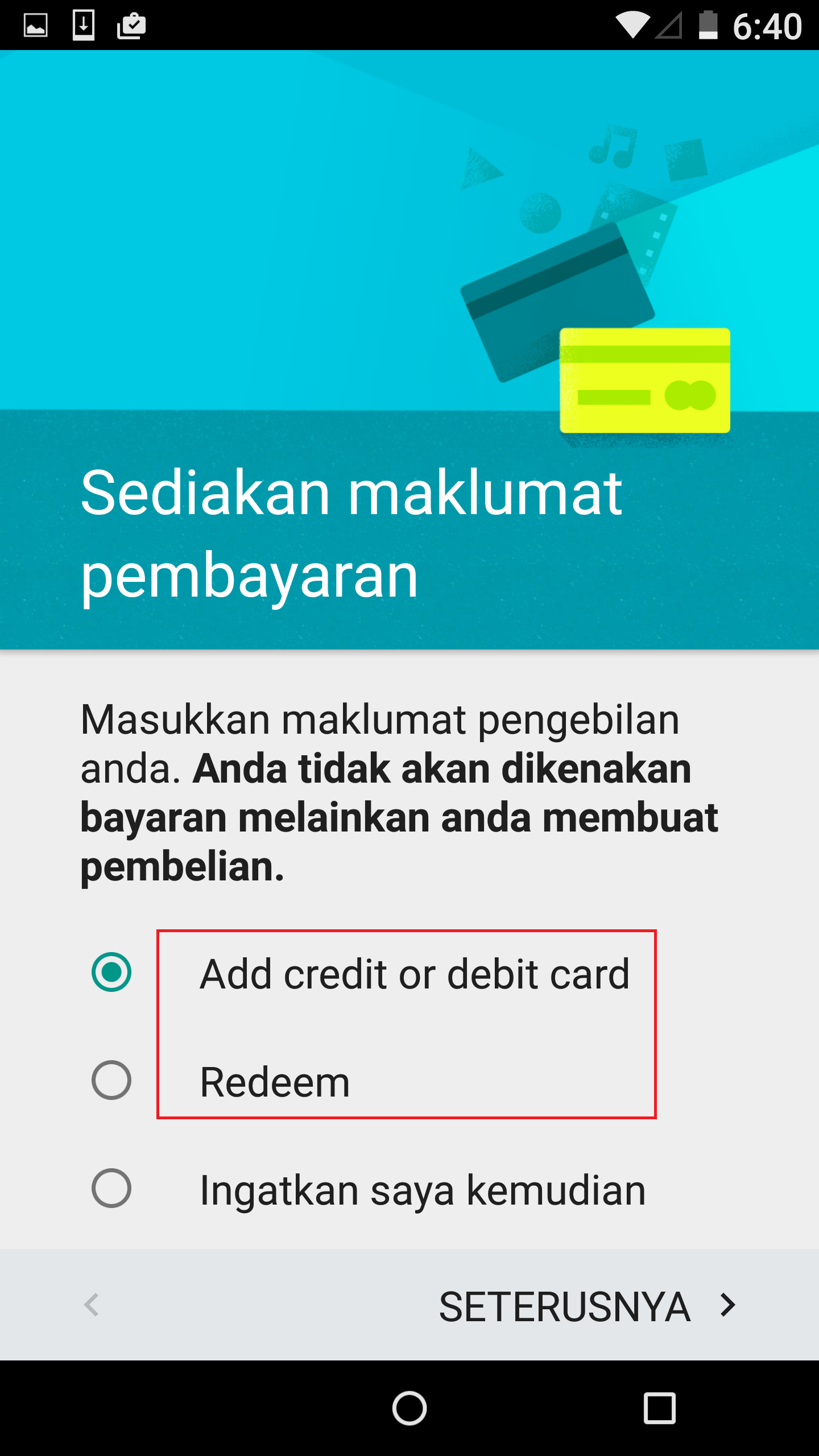 Google Play Store prepare payment info option is not fully translate