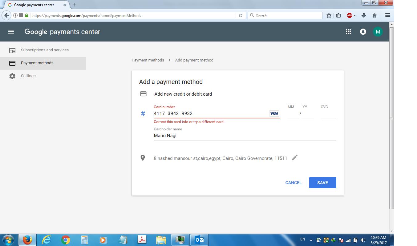 Google play developer account credit card Error - Google Play Help