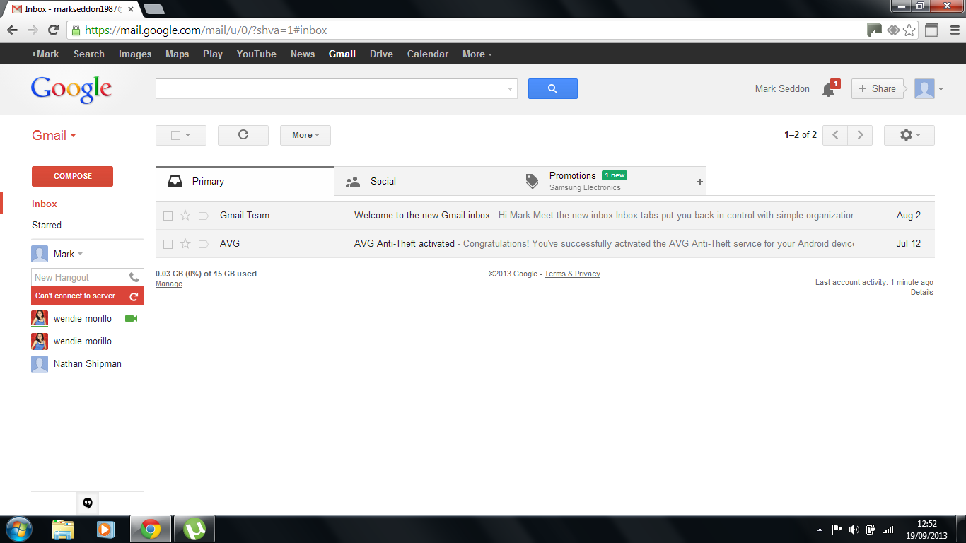 Chrome Problems, Gmail Problems and Hangout Problems