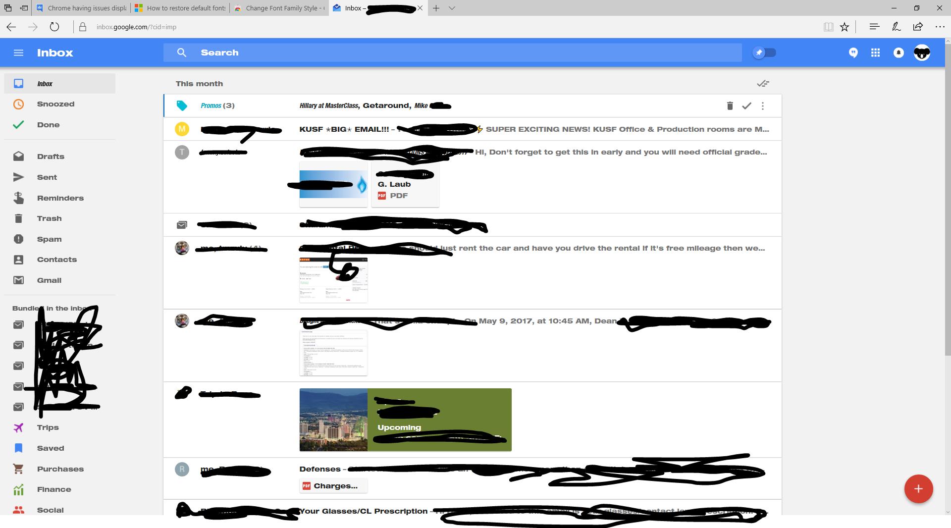 Inbox's displaying Helvetica Neue in Inbox instead of the