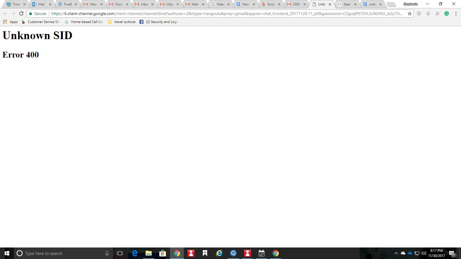 Unknown SID error 400 - Gmail Help