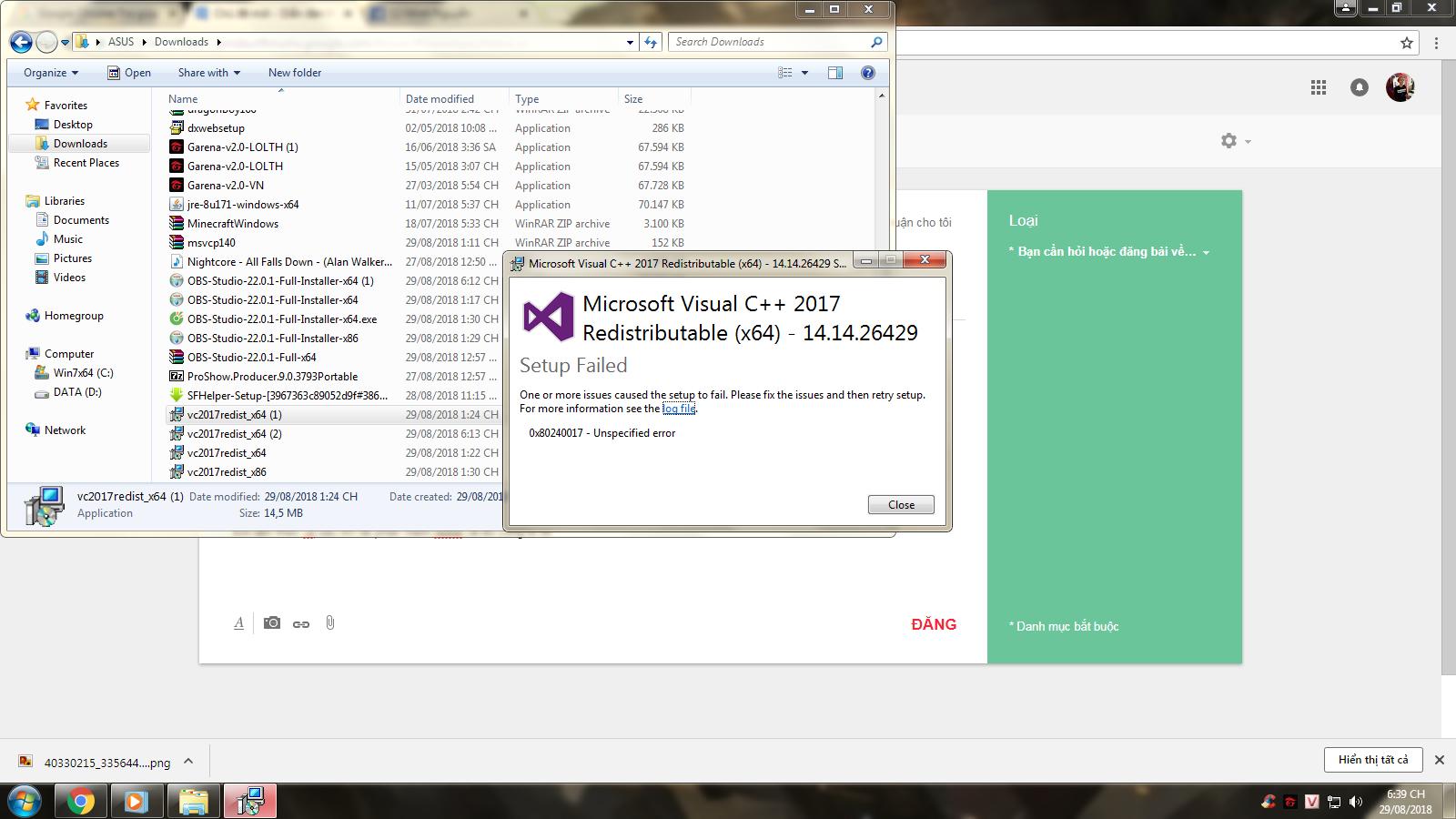máy em gặp lỗi update phần mềm Obs  - Gmail Trợ giúp
