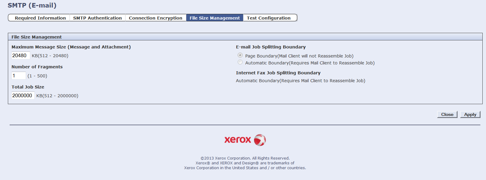 Xerox Unable To Send Test Email Smtp Server Address Is Not