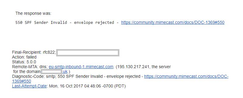 550 SPF Sender Invalid - envelope rejected