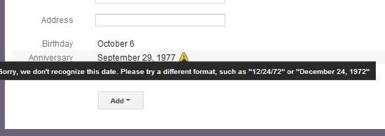 Invalid date format in Contacts for anything other than