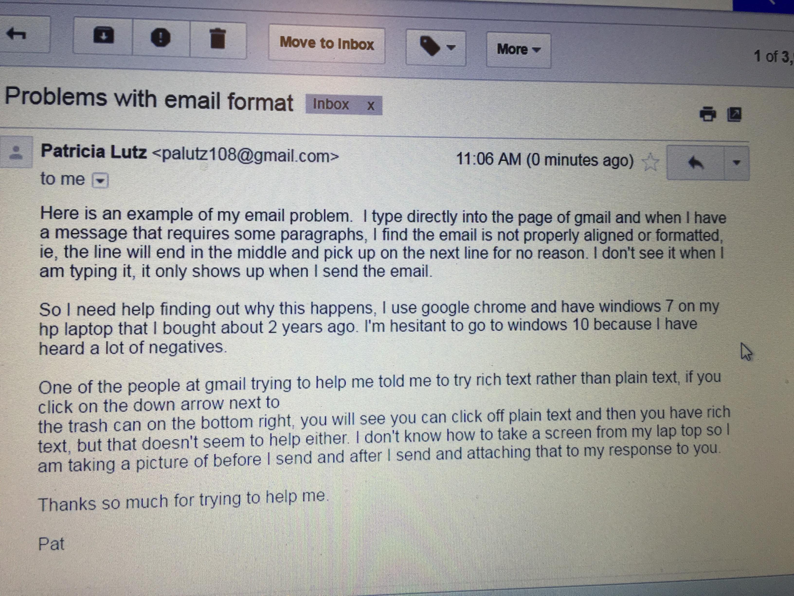 Emails not formatted properly when sent - Gmail Help
