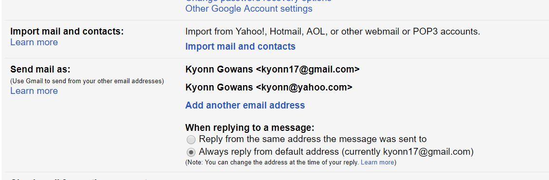 Gmail Associates my Yahoo email with the wrong name  - Gmail