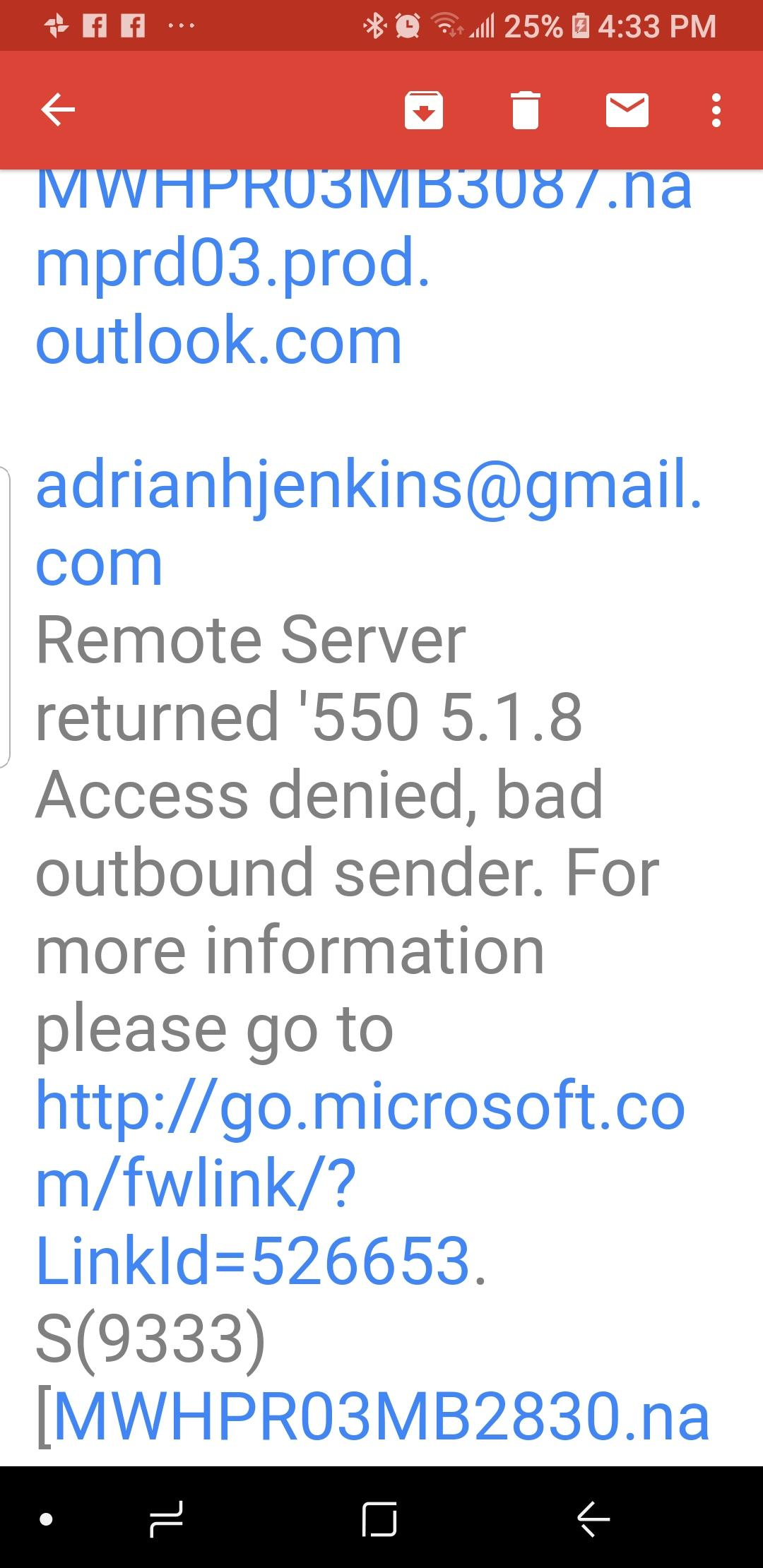 Can't send messages from gmail account  Remote Server