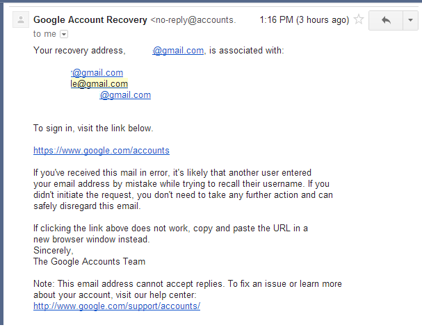 Madison : Google account recovery forum