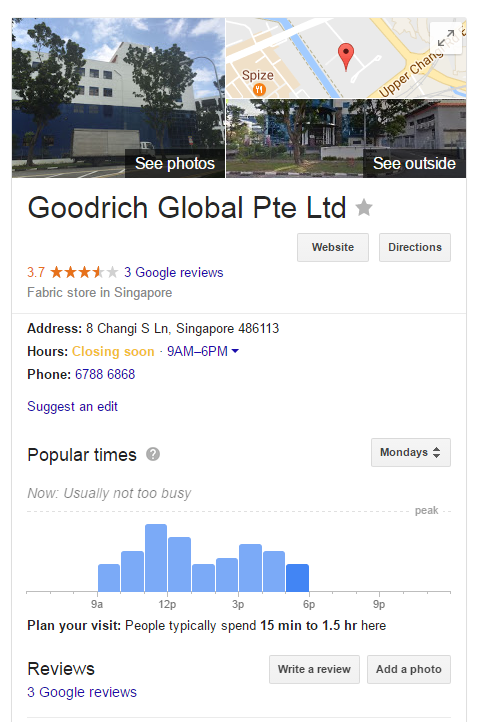 Wrong Business Description and Opening Hours - Goodrich