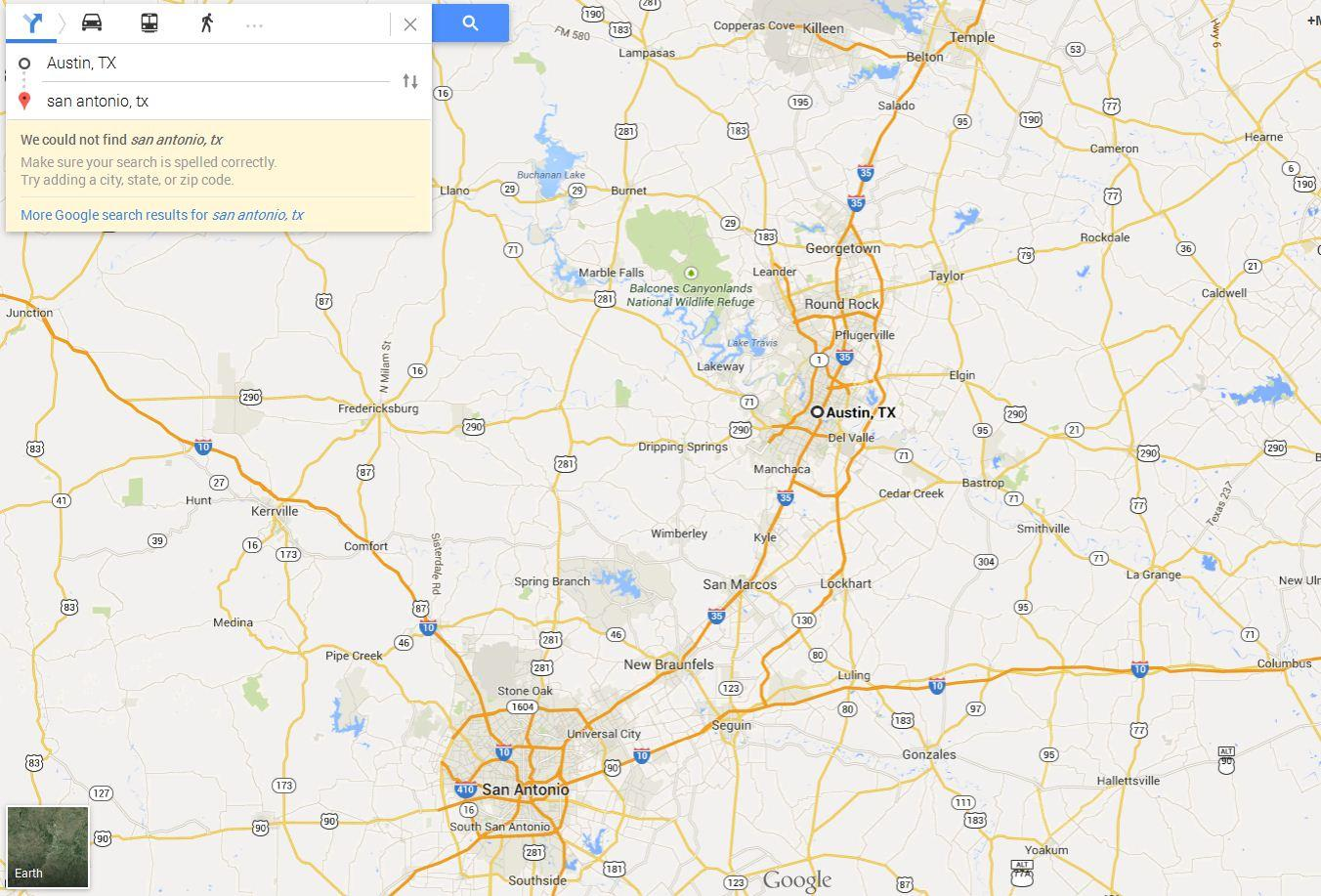 Map Program Austin Tx New Google Maps: Can't find San Antonio Texas   Google Maps Help