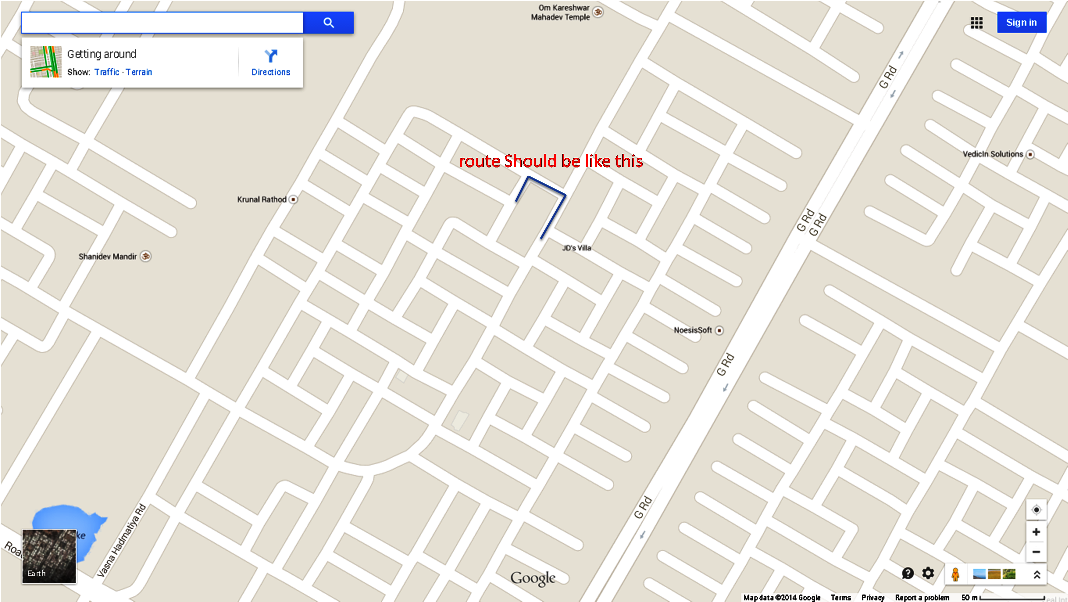 Route Showing Wrong Direction. - Google Maps Help on