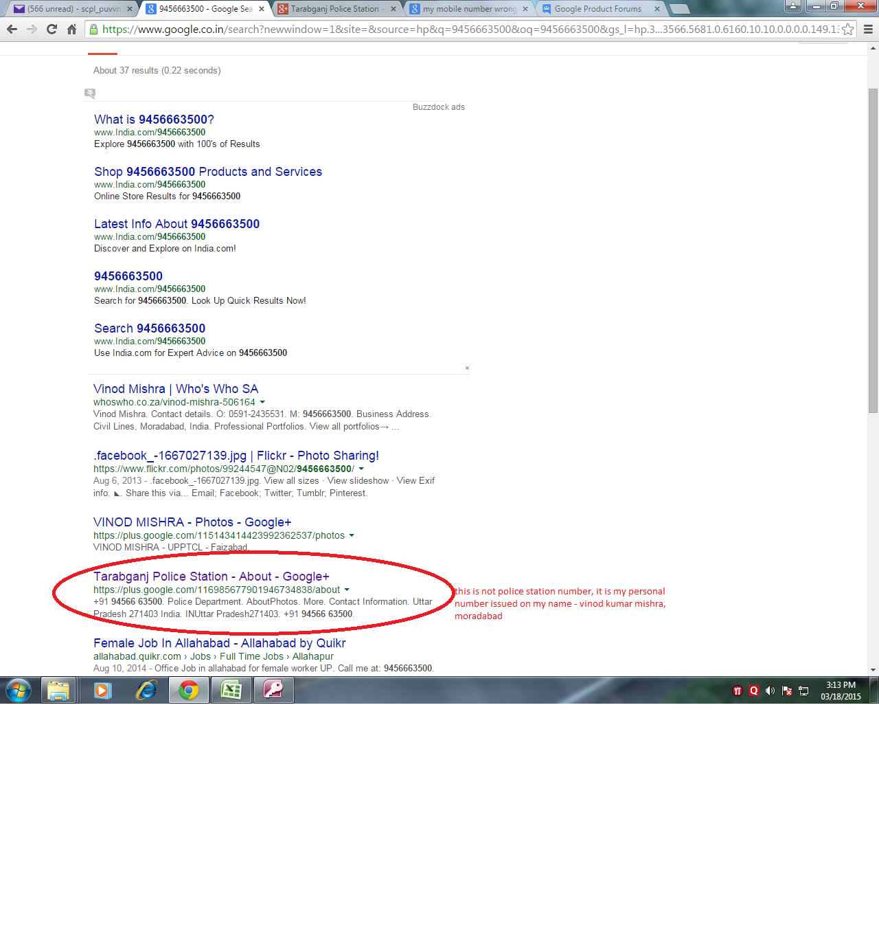 when i search my mobile number on google it shown Police staitaon