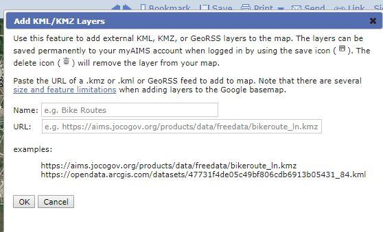 URL of a  kmz or  kml or GeoRSS feed to add to map - Google