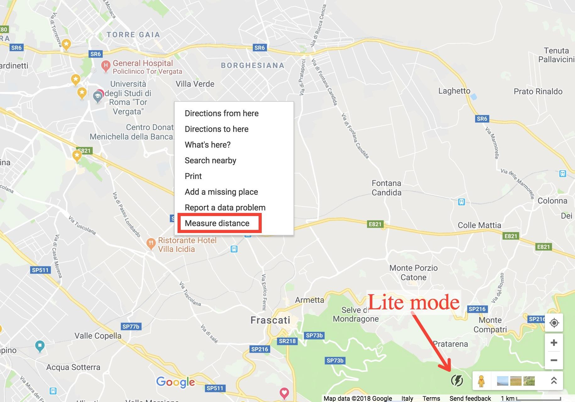 Can't measure distance in Google maps using Safari or Chrome, not in on