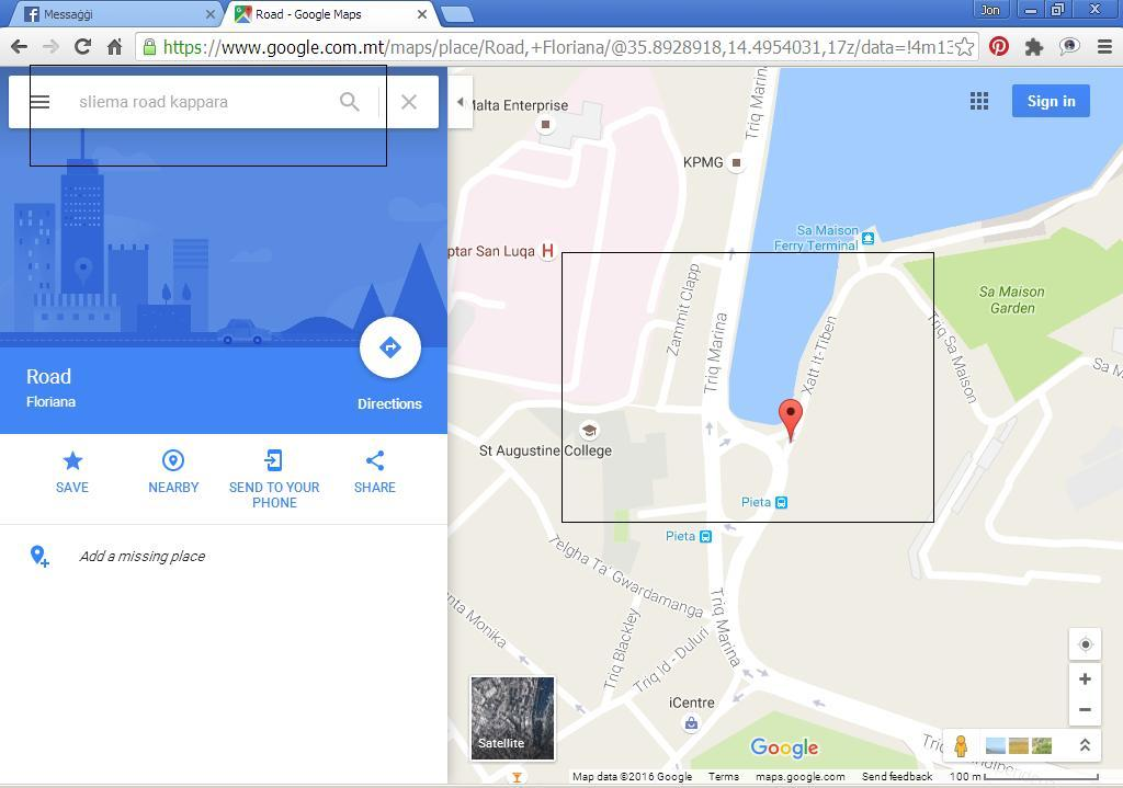 Cannot find the location in Sliema, Malta, a notorious urban