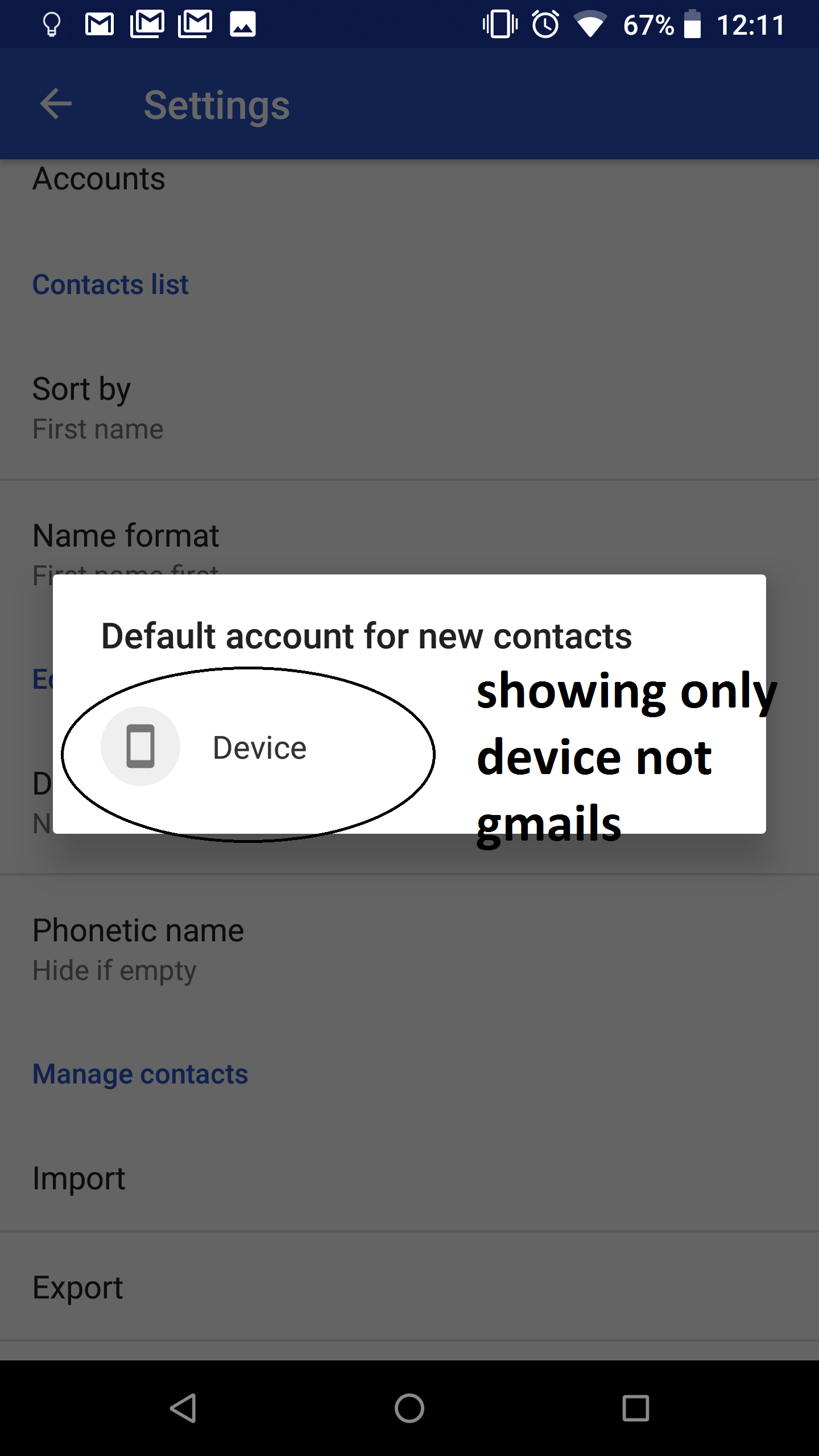 Contacts do not sync to Gmail