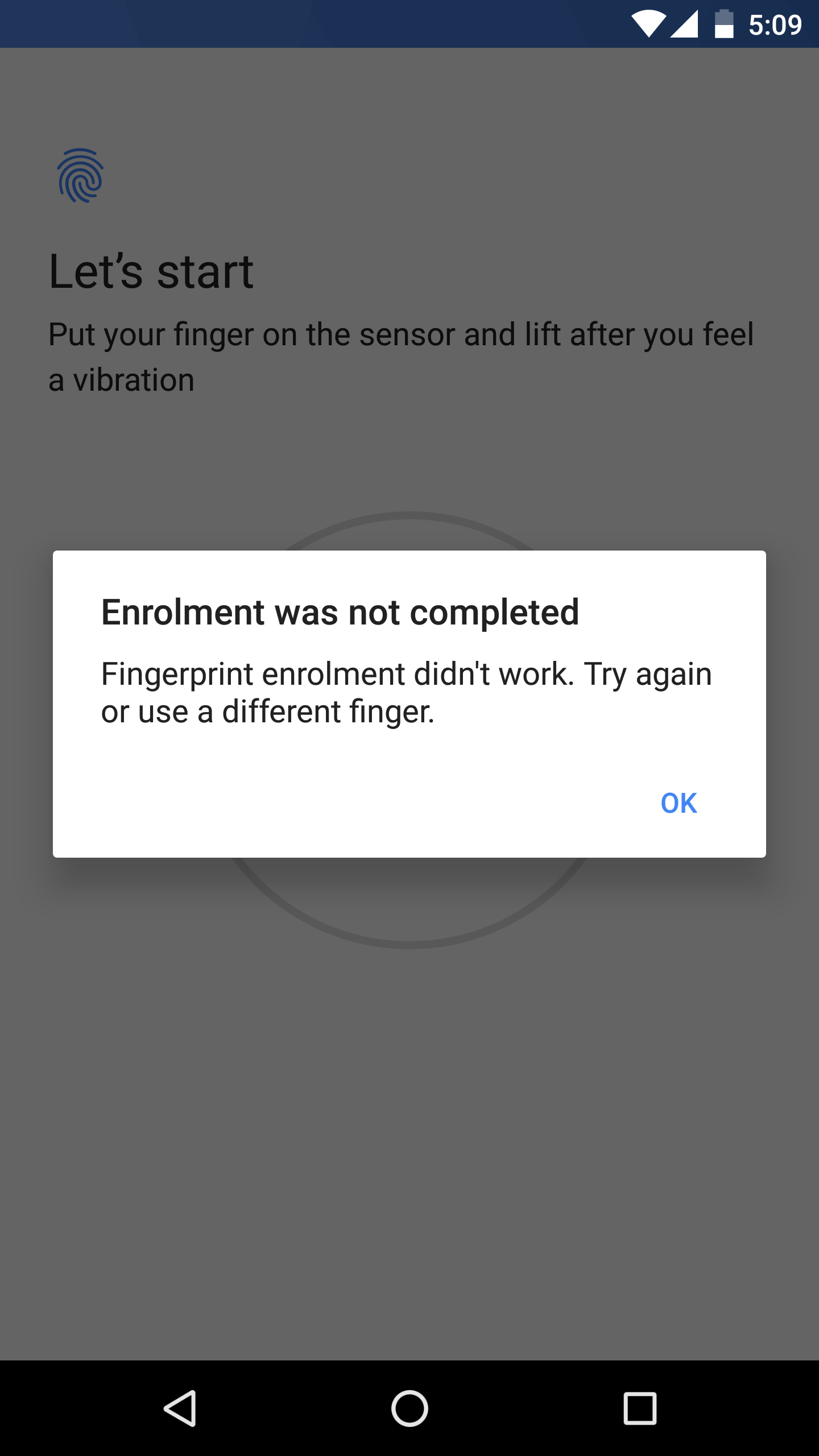 Fingerprint sensor stopped working after 7 1 2 update  Tried