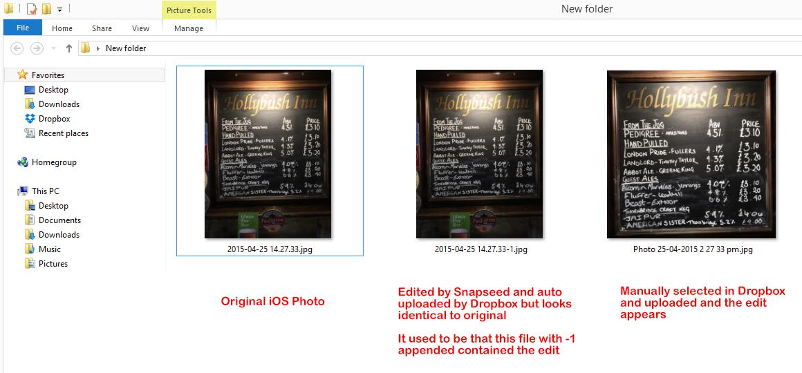 Snapseed and Dropbox upload - Picasa and Picasa Web Albums Help