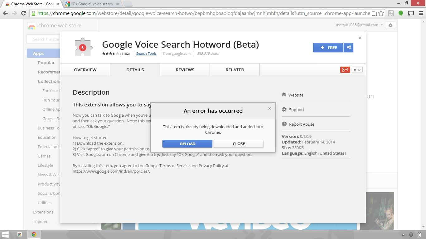 Can't install Google Voice Search Hotword extension - Google