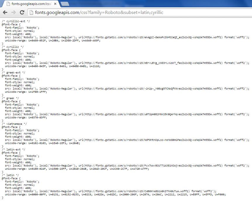 Google Fonts ignoring subsets problem visible through Google Chrome