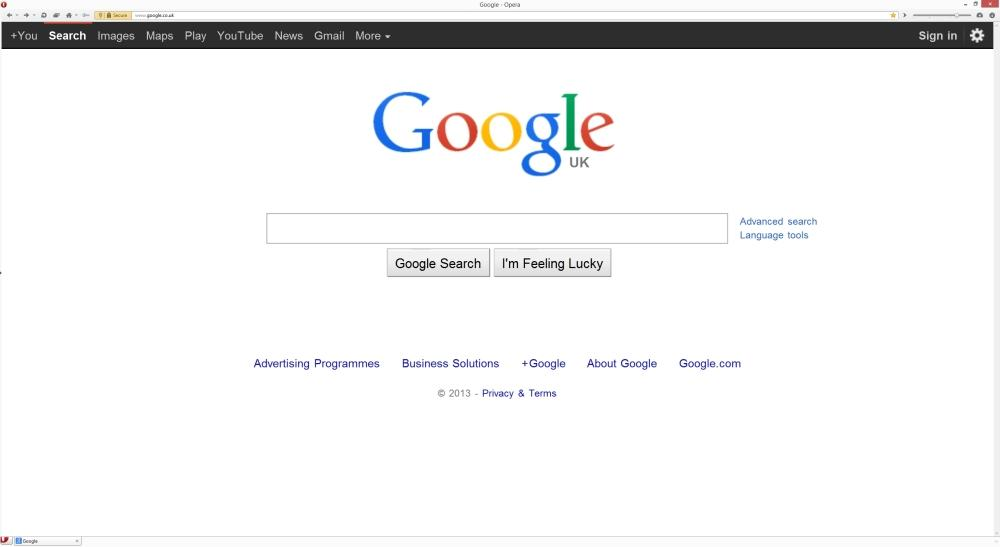 Google hompage reverted to old version in Opera - Google